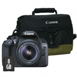 Canon 1300 D 18-55 IS + Sacoche + carte SD 8 Go